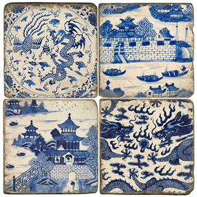 Chinese Delftware Coaster Set. Handcrafted Marble Giftware by Studio Vertu.