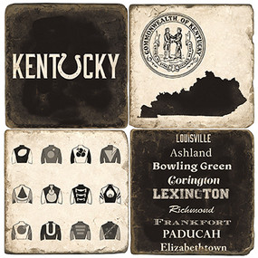 Kentucky Themed Coaster Set. Handcrafted Marble Giftware by Studio Vertu.