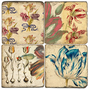 Tulips Coaster Set. Handmade Marble Giftware by Studio Vertu.