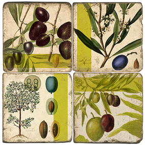 Olives Coaster Set. Handmade Marble Giftware by Studio Vertu.