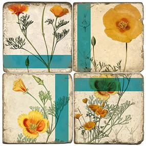 California Poppy Coaster Set. Handmade Marble Giftware by Studio Vertu.