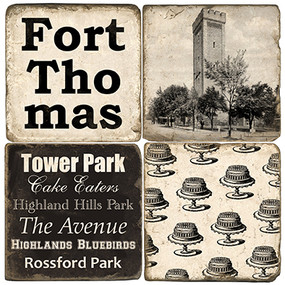 Fort Thomas Themed Coaster Set. Handcrafted Marble Giftware by Studio Vertu.