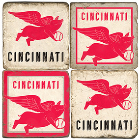 Cincinnati Baseball Themed Coaster Set.  Handcrafted Marble Giftware by Studio Vertu.