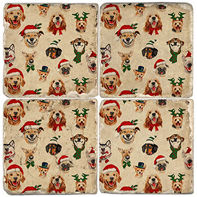 Merry Christmas Dog Coaster Set. Handcrafted Marble Giftware by Studio Vertu.
