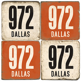 Dallas Area Code 972 Coaster Set. Handcrafted Marble Giftware by Studio Vertu.