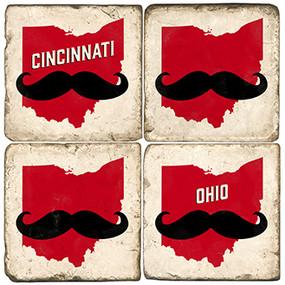 Cincinnati OH, Mustache Coaster Set. Handcrafted Marble Giftware by Studio Vertu.