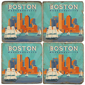 Boston Coaster Set. Handcrafted Marble Giftware by Studio Vertu.