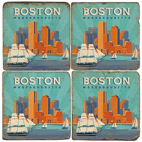 Boston Coaster Set. Handcrafted Marble Giftware by Studio Vertu.