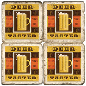 Beer Taster Coaster Set. Handcrafted Marble Giftware by Studio Vertu.