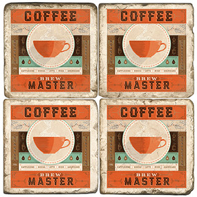 Coffee Master Coaster Set. Handcrafted Marble Giftware by Studio Vertu.