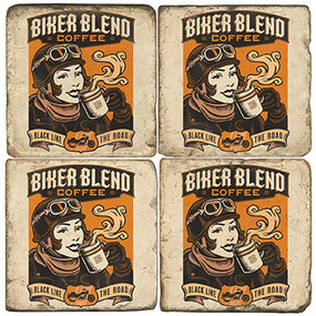 Biker Blend Coffee Coaster Set. Handcrafted Marble Giftware by Studio Vertu.