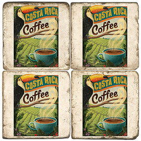 Costa Rica Coffee Coffee Coaster Set. Handcrafted Marble Giftware by Studio Vertu.
