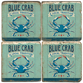 Blue Crab Coaster Set. Handcrafted Marble Giftware by Studio Vertu.