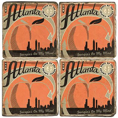 Atlanta GA Coaster Set. Handcrafted Marble Giftware by Studio Vertu.