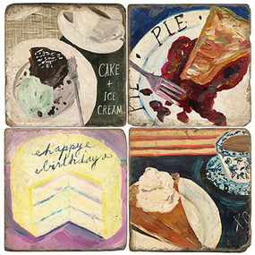 Cake & Pie Coaster Set. Handcrafted Marble Giftware by Studio Vertu.