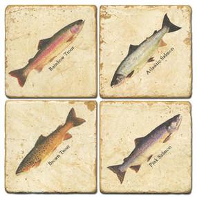Fish specimen Coaster Set. Handcrafted Marble Giftware by Studio Vertu.