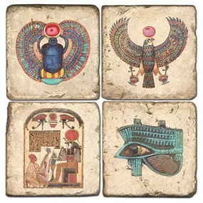 Egyptian Coaster Set. Handcrafted Marble Giftware by Studio Vertu.