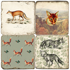 Fox Themed Coaster Set. Handcrafted Marble Giftware by Studio Vertu.