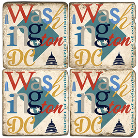 Washington DC Coaster Set. Handcrafted Marble Giftware by Studio Vertu.