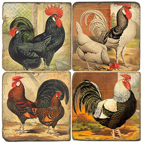 Roosters Coaster Set. Handcrafted Marble Giftware by Studio Vertu.
