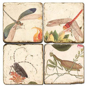 Botanical Bugs Coaster Set. Hand Made Marble Giftware by Studio Vertu.