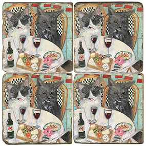Fancy Cats Coaster Set. Handcrafted Marble Giftware by Studio Vertu.