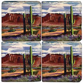 Desert Coaster Set. License artwork by Madaras Gallery. Handcrafted Marble Giftware by Studio Vertu.