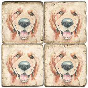 Illustrated Animal Coaster Set. Licensed artwork by Cards for Canines. Handcrafted Marble Giftware by Studio Vertu.