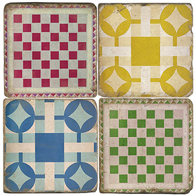 Game Board Coaster Set. Handcrafted Marble Giftware by Studio Vertu.