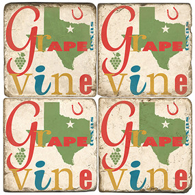 Grapevine Texas Coaster Set. Handcrafted Marble Giftware by Studio Vertu.
