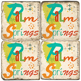 Colorful Palm Springs, California Coaster Set. Handcrafted Marble Giftware by Studio Vertu.