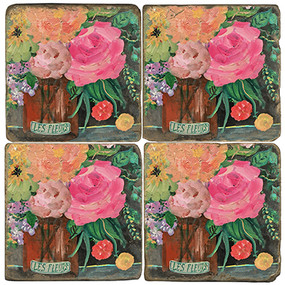 Floral Amber Coaster Set. License artwork by Mindy Carpenter. Handmade Marble Giftware by Studio Vertu.