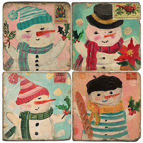 Winter Holiday Coaster Set. License artwork by Mindy Carpenter. Handcrafted Marble Giftware by Studio Vertu.