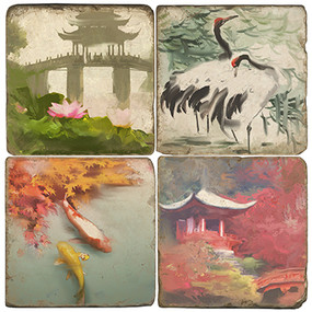 Japanese Garden Coaster Set. Handcrafted Marble Giftware by Studio Vertu.