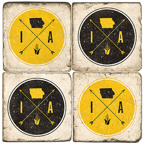 Iowa Arrow Coaster Set. Handcrafted Marble Giftware by Studio Vertu.