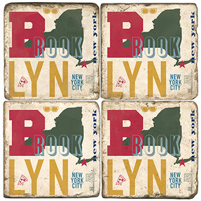 Colorful Brooklyn, NY Coaster Set. Handcrafted Marble Giftware by Studio Vertu.