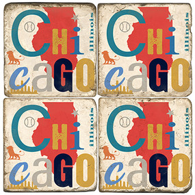 Colorful Chicago, Ill Coaster Set. Handcrafted Marble Giftware by Studio Vertu.