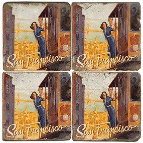 Greetings from San Francisco Set. License artwork by Anderson Design Group. Handmade Marble Giftware by Studio Vertu.