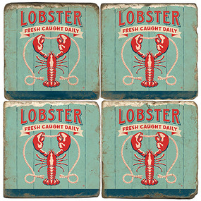Lobster Coaster Set. License artwork by Anderson Design Group. Handcrafted Marble Giftware by Studio Vertu.