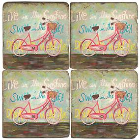 Live in the Sun Coaster Set. License artwork by Mindy Carpenter. Handmade Marble Giftware by Studio Vertu.