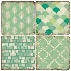 Patterns of Mint Coaster Set. Handcrafted Marble Giftware by Studio Vertu.