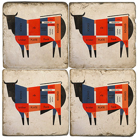 Mid-Century Cow Coaster Set. Handcrafted Marble Giftware by Studio Vertu.