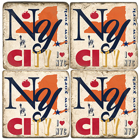 Colorful New York City, NY Coaster Set. Handcrafted Marble Giftware by Studio Vertu.