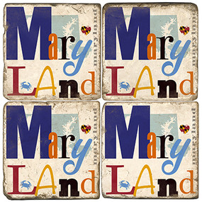Maryland Collage Coaster Set. Handcrafted Marble Giftware by Studio Vertu.