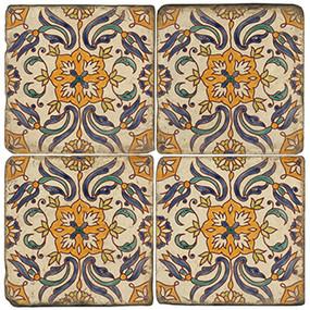 Mediterranean Tile Coaster Set.  Tumbled Italian Marble Giftware by Studio Vertu.