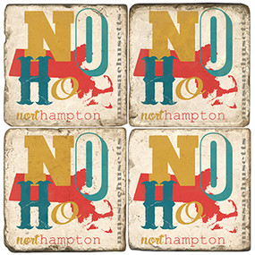 North Hampton Collage Coaster Set. Handcrafted Marble Giftware by Studio Vertu.