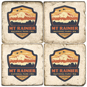 Mt. Rainier, Washington Coaster Set. Handcrafted Marble Giftware by Studio Vertu.
