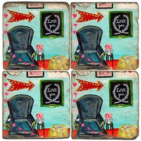 Love You Coaster Set. License artwork by Mindy Carpenter. Handmade Marble Giftware by Studio Vertu.