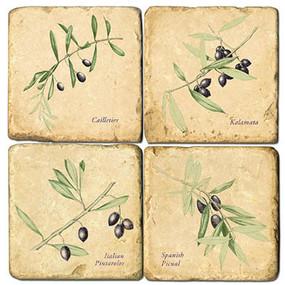 Olives Coaster Set. Handmade Marble Giftware by Studio Vertu.