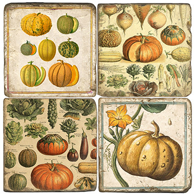 Pumpkins Coaster Set. Handmade Marble Giftware by Studio Vertu.